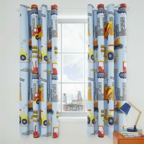 Catherine Lansfield Construction Blue Blackout Eyelet Curtains
